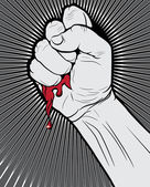 Bloody Clenched Fist on Abstract Background — Stock Vector