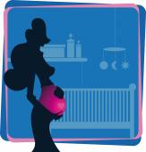 Cartooned Pregnant Woman Touching her Belly — Stock Vector