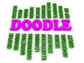 3d imagen Doodle Word Cloud Concept — Stock Photo