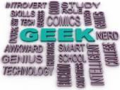 3d imagen Geek Word Cloud Concept — Stock Photo