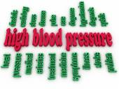 3d image High blood pressure e concept word cloud background — Stock Photo