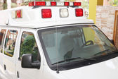 Ambulance parked in a house — Stock Photo