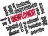 Unemployment concept. Jobless word cloud. 3d — Stock fotografie