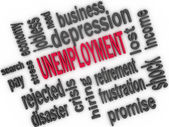 Unemployment concept. Jobless word cloud. 3d — Stockfoto