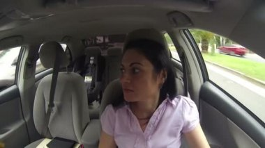 Displeased woman in the car — Stock Video