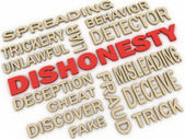 3d imagen Dishonesty concept word cloud background — Stock Photo