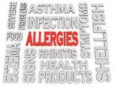 3d imagen Allergies concept word cloud background — Stock Photo