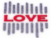 3d imagen Love issues concept word cloud background — Stock Photo