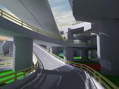 3D highway interchange — Stock Photo