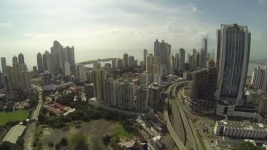 Panama City, Panama - NOV 4: Stunning view of the skyrise buildings in the main city of Panama called the cinta costera in Panama City, Panama on Nov 5, 2014. — Stock Video
