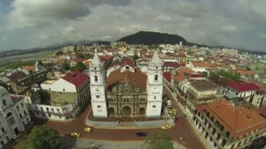Aerial view of Panama Cathedral — Stock Video