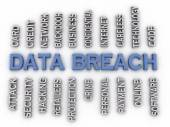 3d image Data Breach issues concept word cloud background — Stock Photo