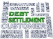3d image Debt settlement  issues concept word cloud background — Stock Photo