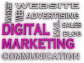 3d imagen Digital Marketing  issues concept word cloud backgroun — Stock Photo