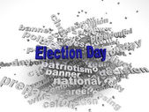 3d image Election Day issues concept word cloud background — Stockfoto