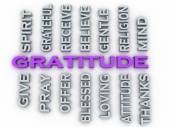 3d image Gratitude issues concept word cloud background — Stockfoto
