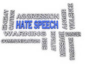 3d image hate speech issues concept word cloud background — Stock Photo