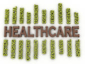 3d image Healthcare issues concept word cloud background — Stockfoto
