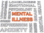 3d image Mental illness issues concept word cloud background — Stock Photo