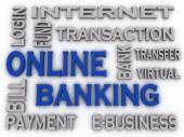 3d imagen Online Banking  issues concept word cloud background — Stock Photo