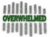 3d imagen Overwhelmed  issues concept word cloud background — Photo