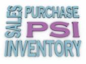 3d image PSI (Purchase, Sales and Inventory)  issues concept wor — Stock Photo