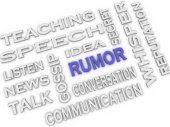 3d image Rumor issues concept word cloud background — Stock Photo