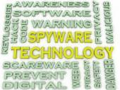 3d image Spyware Technology  issues concept word cloud backgroun — Stock Photo