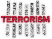 3d image Terrorism issues concept word cloud background — Stock Photo