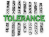 3d image Tolerance issues concept word cloud background — Stock Photo