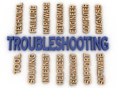 3d image Troubleshooting in words cloud — Stock Photo