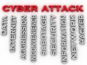 3d image Cyber attack issues concept word cloud background — Stock Photo