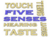 3d image Five senses  issues concept word cloud background — Stock Photo