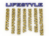 3d image Lifestyle issues concept word cloud background — Stock Photo