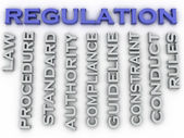 3d image Regulation issues concept word cloud background — Stock Photo