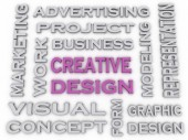 3d image Creative Design  issues concept word cloud background — Stock Photo
