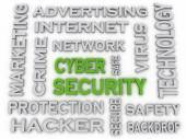 3d image CYBER SECURITY  issues concept word cloud background — Stock Photo