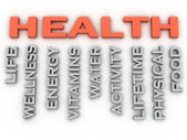 3d image HEALTH  issues concept word cloud background — Stock Photo