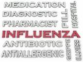 3d image Influenza  issues concept word cloud background — Stock Photo