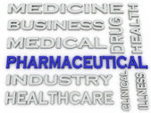3d image Pharmaceutical industry  issues concept word cloud back — Stock Photo