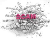 3d image Scam  issues concept word cloud background — Stock Photo