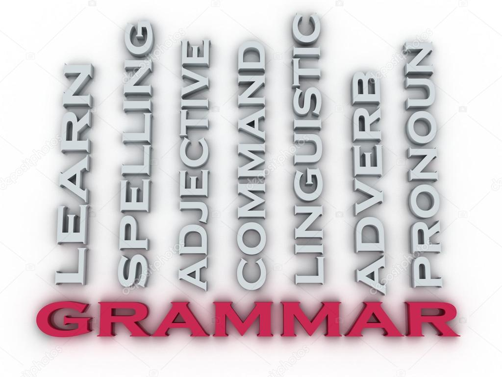 3d image Grammar issues concept word cloud background. Learning ...