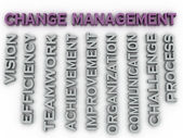 3d image change management   issues concept word cloud backgroun — Stock Photo