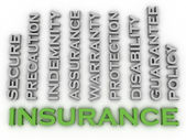 3d image Insurance  issues concept word cloud background — Stock Photo