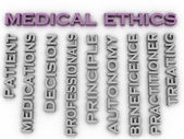 3d image medical ethics   issues concept word cloud background — Stock Photo
