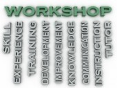 3d image Workshop  issues concept word cloud background — Stock Photo