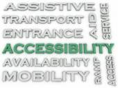 3d image Accessibility  issues concept word cloud background — Stock Photo