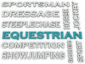 3d image Equestrian  issues concept word cloud background — Stock Photo