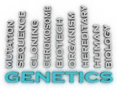 3d image Genetics  issues concept word cloud background — Stock Photo