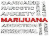 3d image Marijuana  issues concept word cloud background — Stock Photo